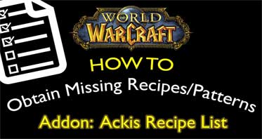 Ackis Recipe List WOW Addon 8.3.0/8.2.0/8.0.0